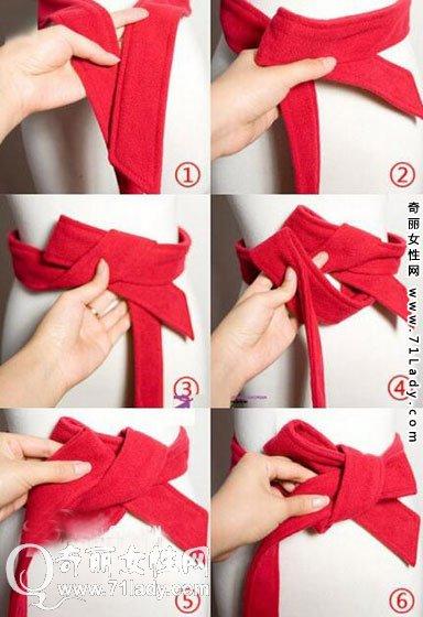 腰带蝴蝶结的系法图解 风衣腰带系法五步骤